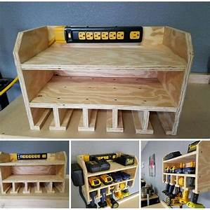 47 Woodworking Tool Storage Plans, Cordless Tool Station
