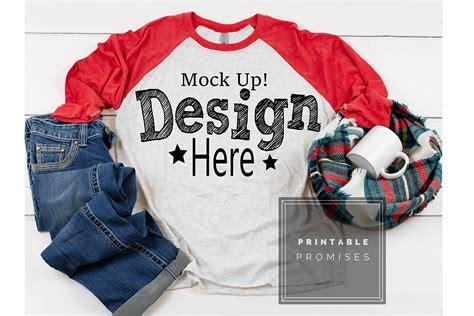 Free hoodie mockup psd bundle (3 psd). Raglan Mockup Next Level 6051 Red Raglan Mockup Shirt ...