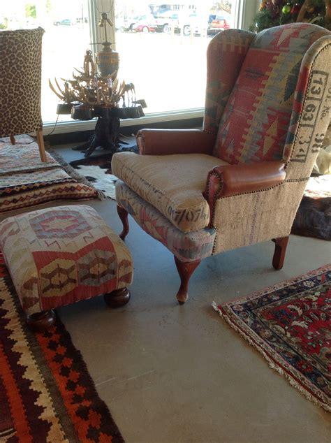 burlap kilim leather wingback chair   sofa
