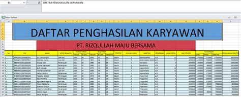 Slip gaji pegawai dan tenaga kependidikan periode bulan november 2013 nik nama jabatan status penghasilan gaji pokok tj. Contoh Payroll Gaji Excel - Aneka Contoh