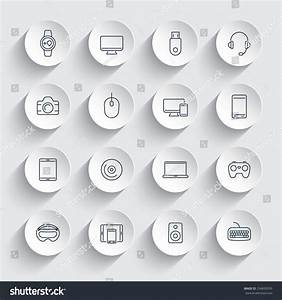 Modern Gadgets Line Icons On Round Stock Vector 334699295 ...