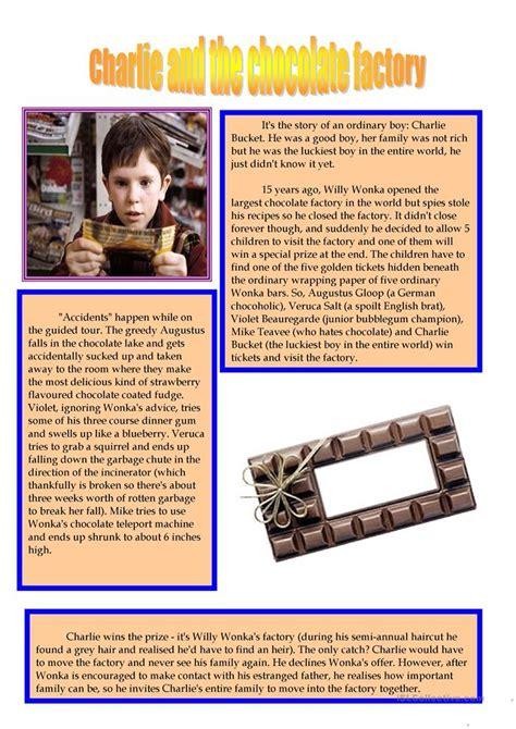 charlie   chocolate factory worksheet  esl