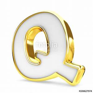quot3d gold white letter q isolated white background With gold and white letters