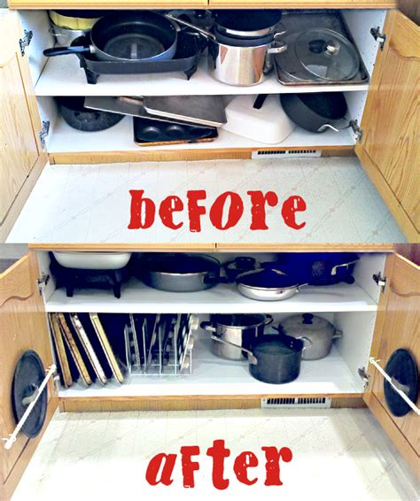 how to organize pots and pans in small kitchen organizing the dreaded pots and pans cabinet one 9923