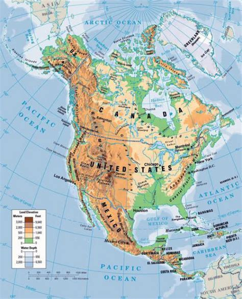 Ziemeļamerika: atvieglojums un tā īpašības