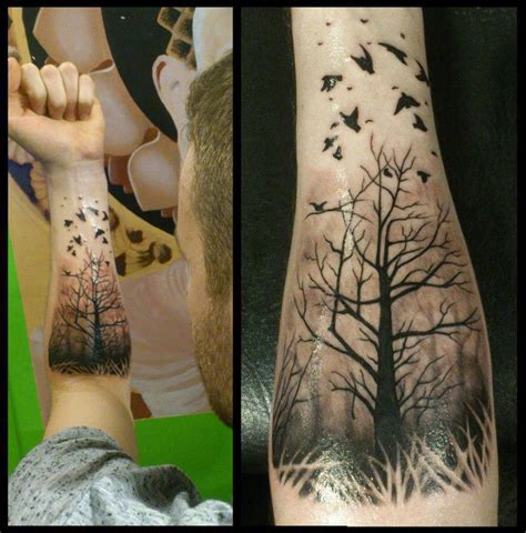 Misty Forest With Ravens Forearm Piece Best Tattoo