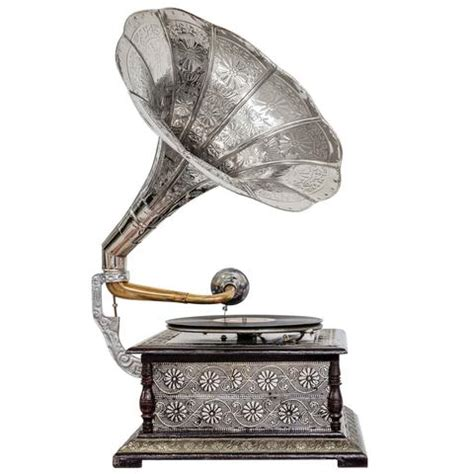treasure imports etched silver horn gramophone ti