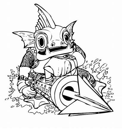 Grunt Gill Fish Fear Skylanders Spyro Pages2color