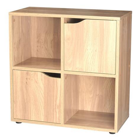 wooden cube shelf oak 4 cube 2 door wooden storage unit display shelving