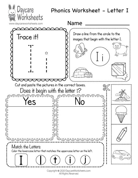 printable letter  beginning sounds phonics worksheet