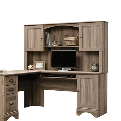 sauder computer desk salt oak sauder harbor view desk hutch salt oak by office depot