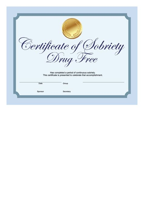 sobriety certificate template drug  blue printable