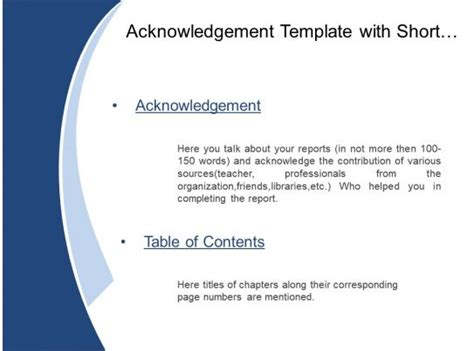 acknowledgement template  short briefing  table