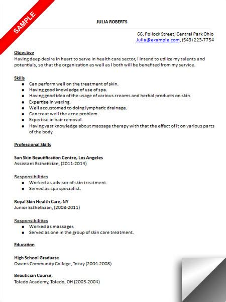 Esthetician Resume With Picture by Esthetician Resume Sle