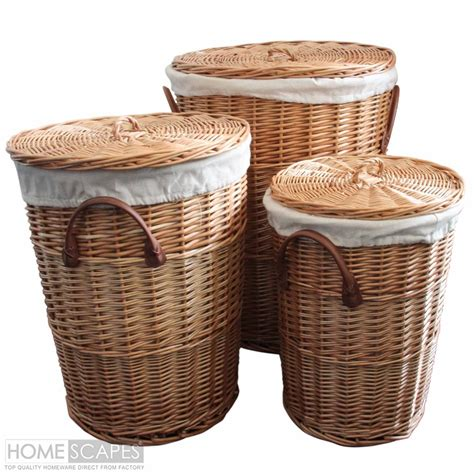 wicker laundry basket with lid set of 3 willow wicker laundry baskets 1897