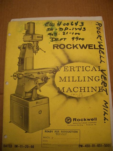 fs rockwell milling machine ownerparts manual