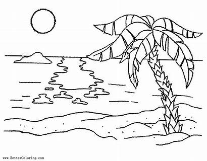 Coloring Sunset Palm Pages Beach Tree Printable