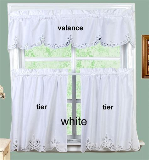 And White Valance by White Battenburg Lace Kitchen Curtain Valance Or Tiers