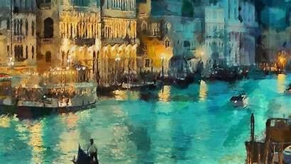 Painting Classic Desktop Water Night Laptop Paintings