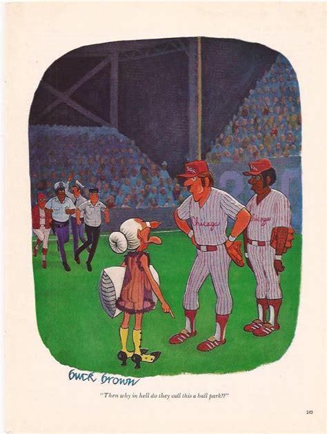 buck brown playboy cartoon original magazine ad   hell   call   ball park