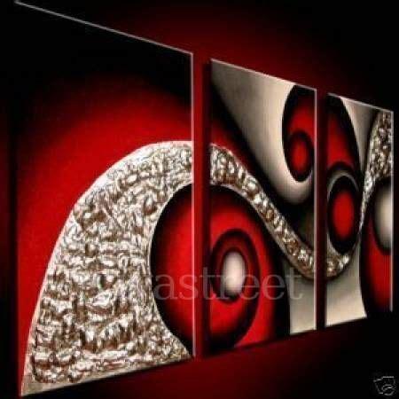 cuadro abstracto en rojos  plateados ynegro cuadros