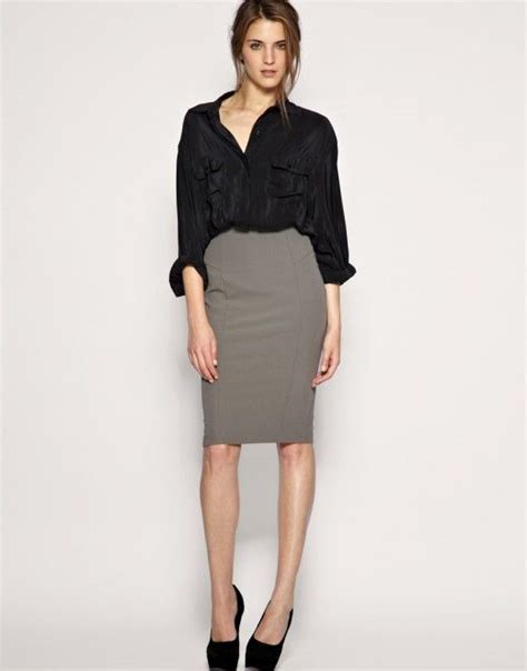 Office formal look - black shirt and pencil grey skirt. Black shoes and the formal chic look is ...