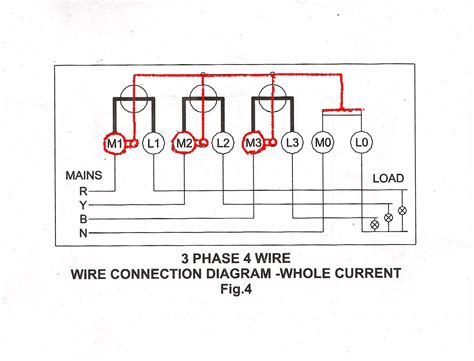 3 phase 4 wire connection for l t whole current meter