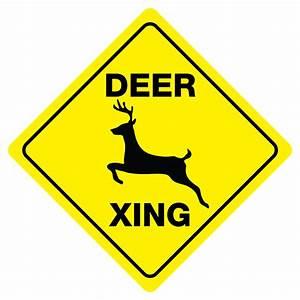 Deer Crossing Sign Xing buck doe hunter funny gag novelty