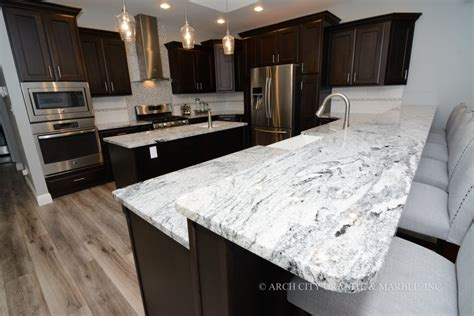 kitchen island countertop ideas complete guide to white granite countertops arch city