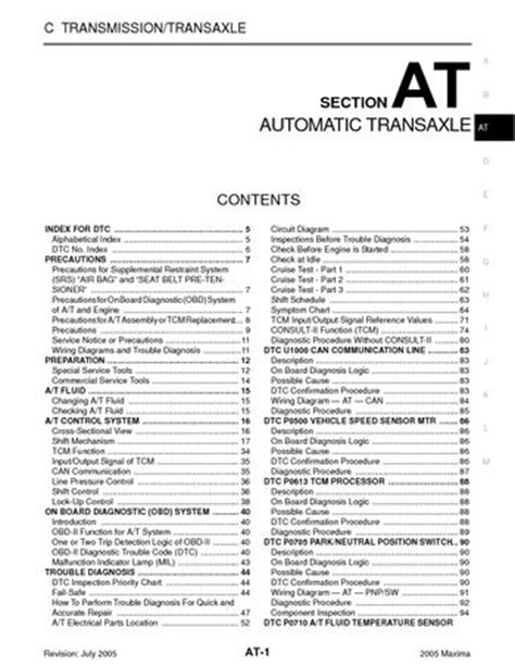 on board diagnostic system 1987 honda accord transmission control 2005 nissan maxima automatic transmission section at pdf manual 316 pages