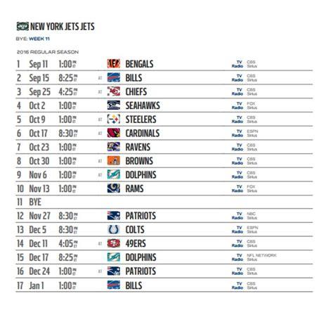 york jets  nfl schedule released