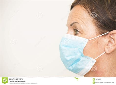 Portrait Medical Nurse With Mask Stock Photo