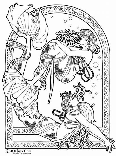 Coloring Pages Mermaid Printable Fantasy Adult Adults