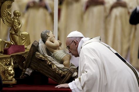 pope contrasts jesus birth excess  christmas eve