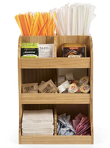 coffee station wood condiment organizer multi tiered holder