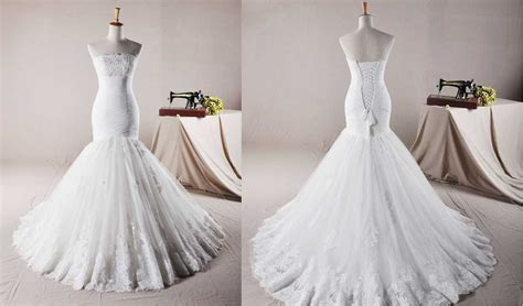 Strapless Trumpet / Mermaid Net Wedding Dress Wedding