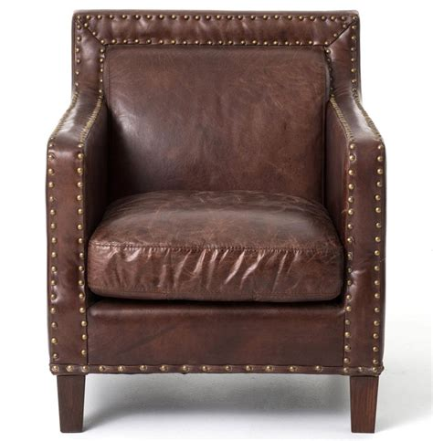 alcott rustic masculine cigar brown leather club chair