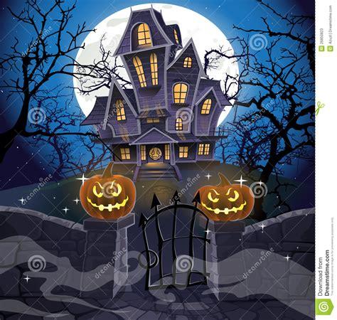 happy halloween cozy haunted house stock  image