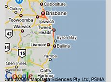 Map of Byron Bay, Queensland Hotels Accommodation
