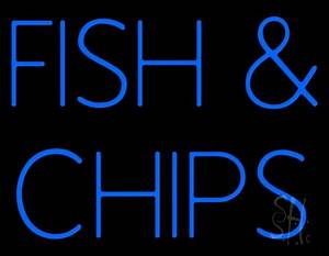Blue Fish And Chips Neon Sign