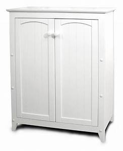Small White Storage Cabinet With Wooden Doors Decofurnish