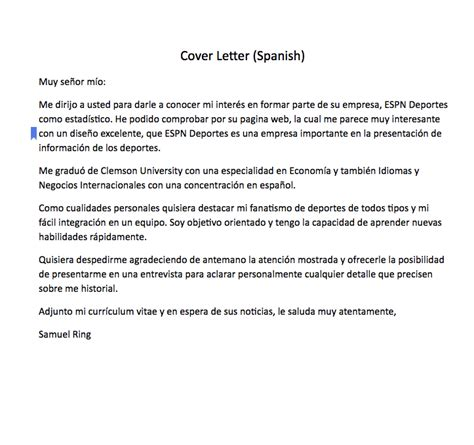 spanish cover letter sample cover letter spanish muy