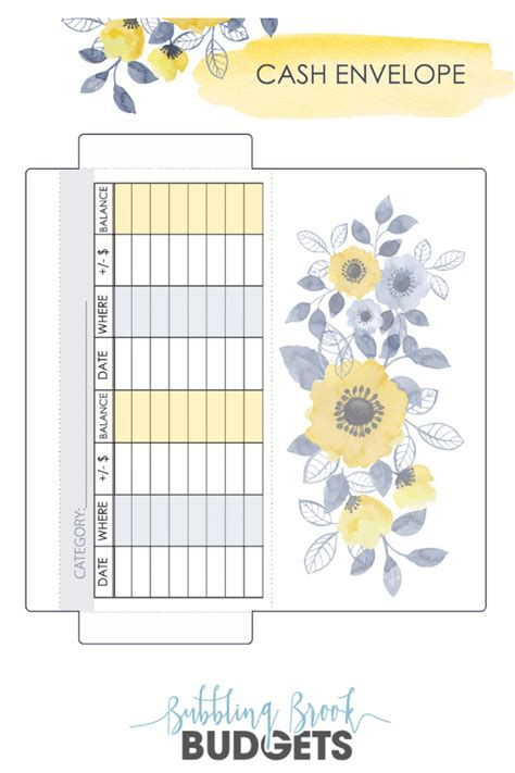 printable cash envelope template yellow blue floral