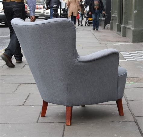 beautiful grey small scale wingback armchair at 1stdibs