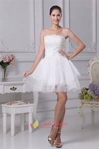 Strapless Layered Lace Short Wedding Dress Strapless