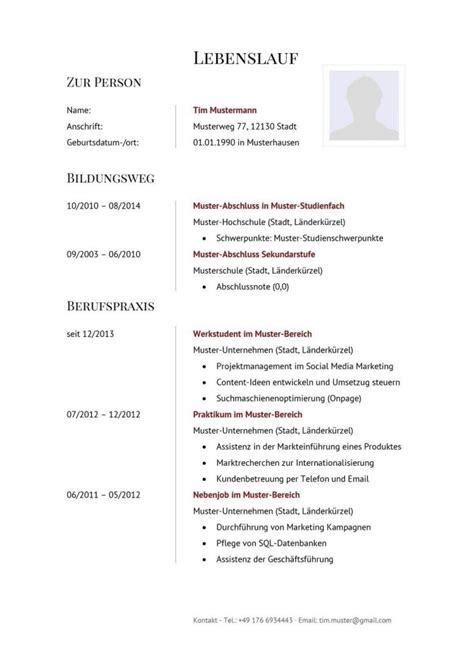 Lebenslauf Muster Kostenlos 2014 by 17 Lebenslauf Muster 2014 Kostenlos Jrobinberry
