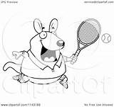 Wallaby Kangaroo Playing Tennis Cartoon Clipart Coloring Chubby Outlined Vector Cory Thoman Regarding Notes sketch template