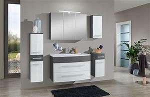 Badezimmer Set Grau : sam 5tlg badezimmer set hochglanz wei grau 90cm genf ~ Indierocktalk.com Haus und Dekorationen