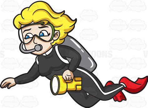 Scuba Diver Clipart A Diver Carrying A Flashlight Clipart By Vector