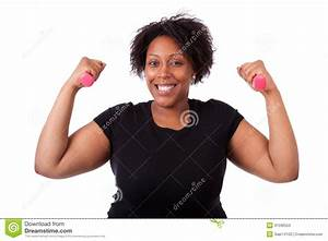 Portrait Of A Black Fatty Woman Working Out With Free ...